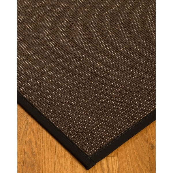 Natural Area Rug Vida Area Rug 100% Natural Sisal Hand-Crafted Black Wide Canvas Border, 6' x 9' - 6' x 9'