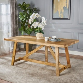 Nathaniel Rectangle Wood Dining Table by Christopher Knight Home