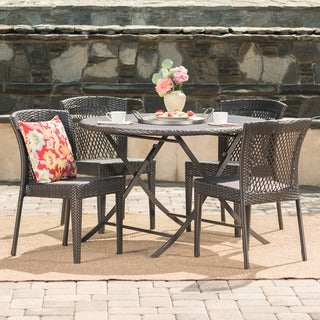Rai Outdoor 5-Piece Round Foldable Wicker Dining Set with Umbrella Hole by Christopher Knight Home