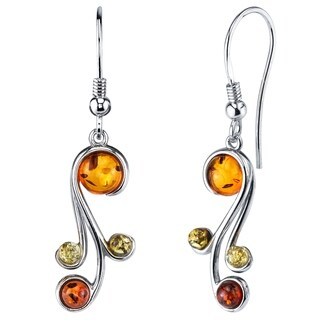 Oliveti Sterling Silver Baltic Amber Multi Color Spiral Drop Dangle Earrings - Cognac
