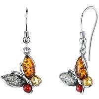 Oliveti Sterling Silver Baltic Amber Multi Color Butterfly Drop Dangle Earrings 1.5 inches long - Cognac