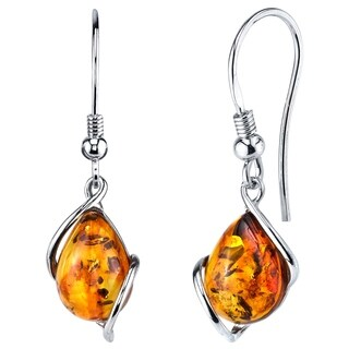 Oliveti Sterling Silver Baltic Amber Drop Dangle Earrings Cognac Color 1.35 inches long