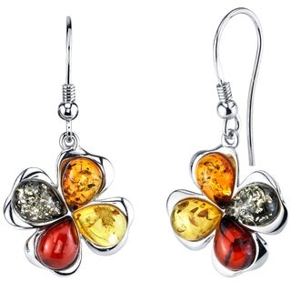 Oliveti Sterling Silver Baltic Amber Clover Leaf Drop Dangle Earrings - Cognac