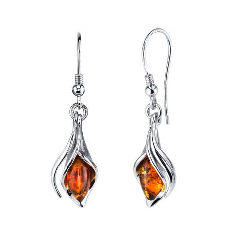 Oliveti Sterling Silver Baltic Amber Drop Dangle Calla Lily Flower Earrings Cognac Color 1.50 inches long
