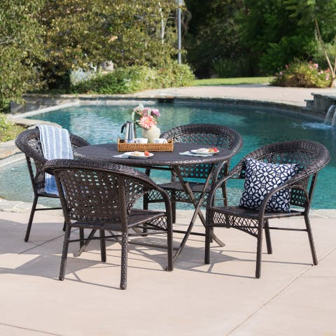 Maxine Outdoor 5-Piece Round Foldable Wicker Dining Set with Umbrella Hole by Christopher Knight Home