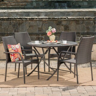 Kiera Outdoor 5-Piece Round Foldable Wicker Dining Set with Umbrella Hole by Christopher Knight Home