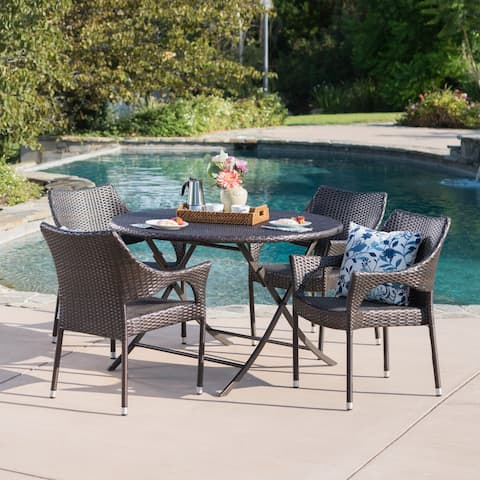 Kyler Outdoor 5-Piece Round Foldable Wicker Dining Set with Umbrella Hole by Christopher Knight Home