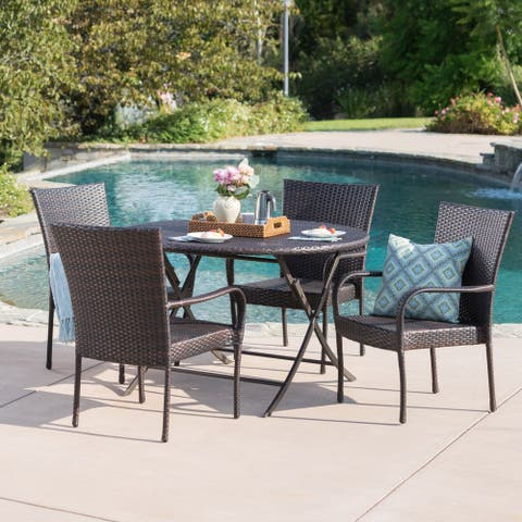Remy Outdoor 5-Piece Round Foldable Wicker Dining Set with Umbrella Hole by Christopher Knight Home