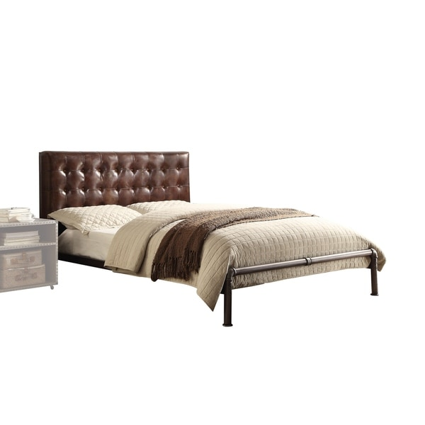 Acme Furniture Brancaster Queen Bed, Vintage Brown Top Grain Leather ...