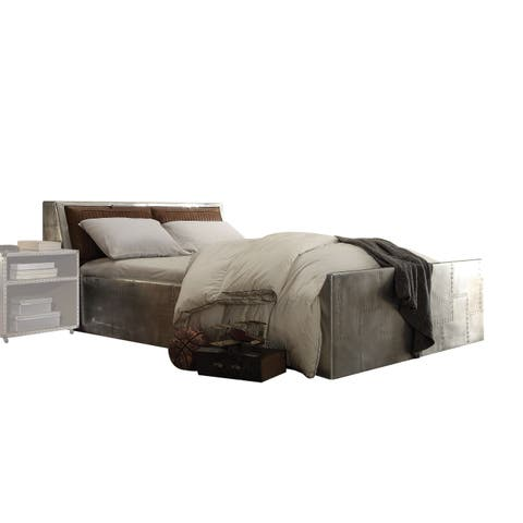 Acme Furniture Brancaster Storage Queen Bed, Retro Brown Top Grain Leather and Aluminum