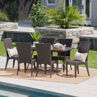 Astra Outdoor 7-Piece Rectangle Foldable Wicker Dining Set with Umbrella Hole by Christopher Knight Home