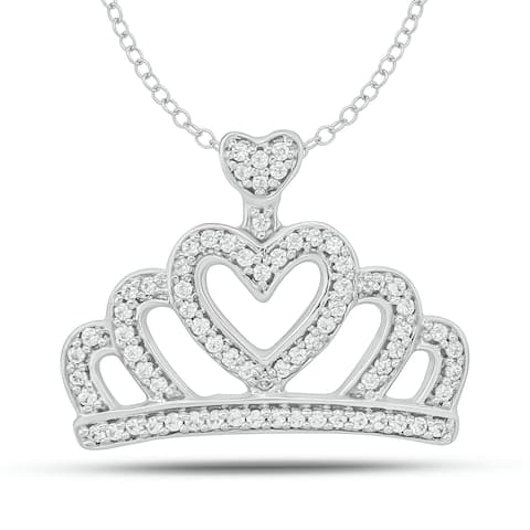 Cali Trove 10kt White Gold 1/5ct TDW Diamond Crown Necklace