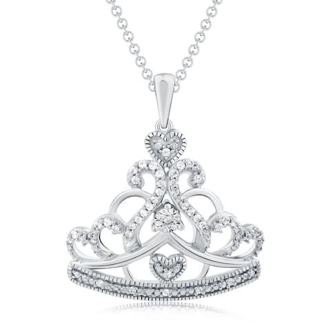 Cali Trove 1/6 Carat Round Diamonds Princess Crown Necklace In Sterling Silver. - White