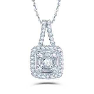 1/4 Carat Round & Baguette Diamonds Compsoite Necklace In 10K White Gold.