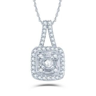 1/4 Carat Round & Baguette Diamonds Compsoite Necklace In 10K White Gold.