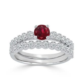 Ruby wedding rings for less overstock auriya 14k gold 38ct ruby and diamond bridal wedding ring set junglespirit Image collections