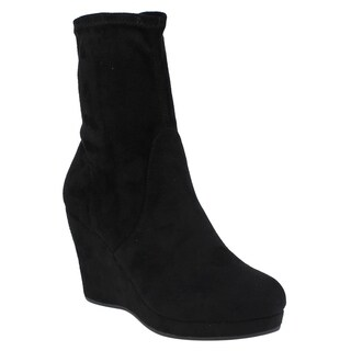 Beston EI68 Women's Pull On Wrapped Platform Wedge Ankle High Top Vegan Booties