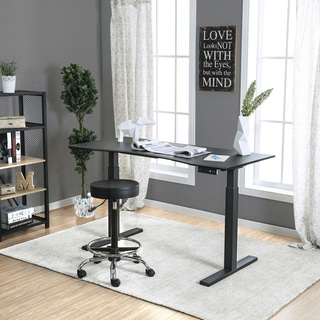Furniture of America Flanel Contemporary Height Adjustable Desk with USB/Power Outlet