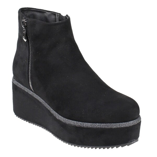 EI70 Women's Dual Side Zippers Sparkling Platform Wedge Ankle Booties