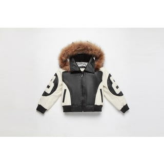 Wilda Kid's Leather Bomber with Hood