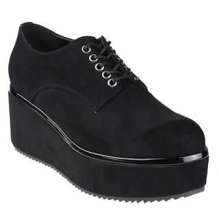 Beston EI71 Women's Lace Up Lug sole Platform Wedge Low Top Vegan Oxford