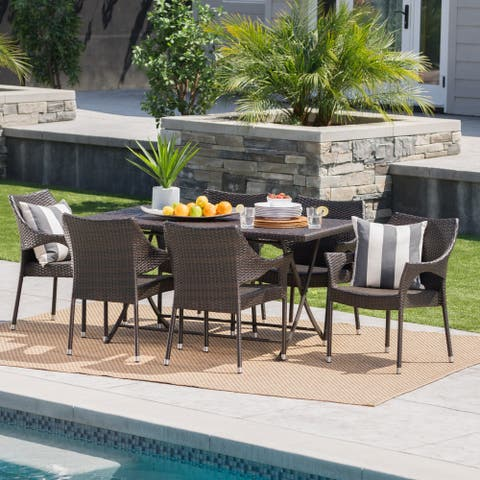 Darcy Outdoor 7-Piece Rectangle Foldable Wicker Dining Set with Umbrella Hole by Christopher Knight Home