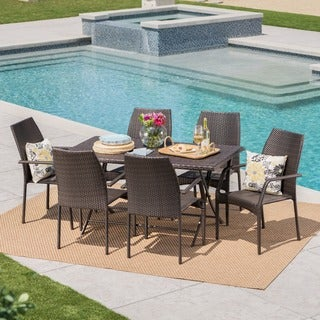 April Outdoor 7-Piece Rectangle Foldable Wicker Dining Set with Umbrella Hole by Christopher Knight Home
