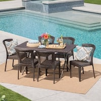 Pilar Outdoor 7-Piece Rectangle Foldable Wicker Dining Set with Umbrella Hole by Christopher Knight Home