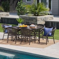 Uma Outdoor 7-Piece Rectangle Foldable Wicker Dining Set with Umbrella Hole by Christopher Knight Home