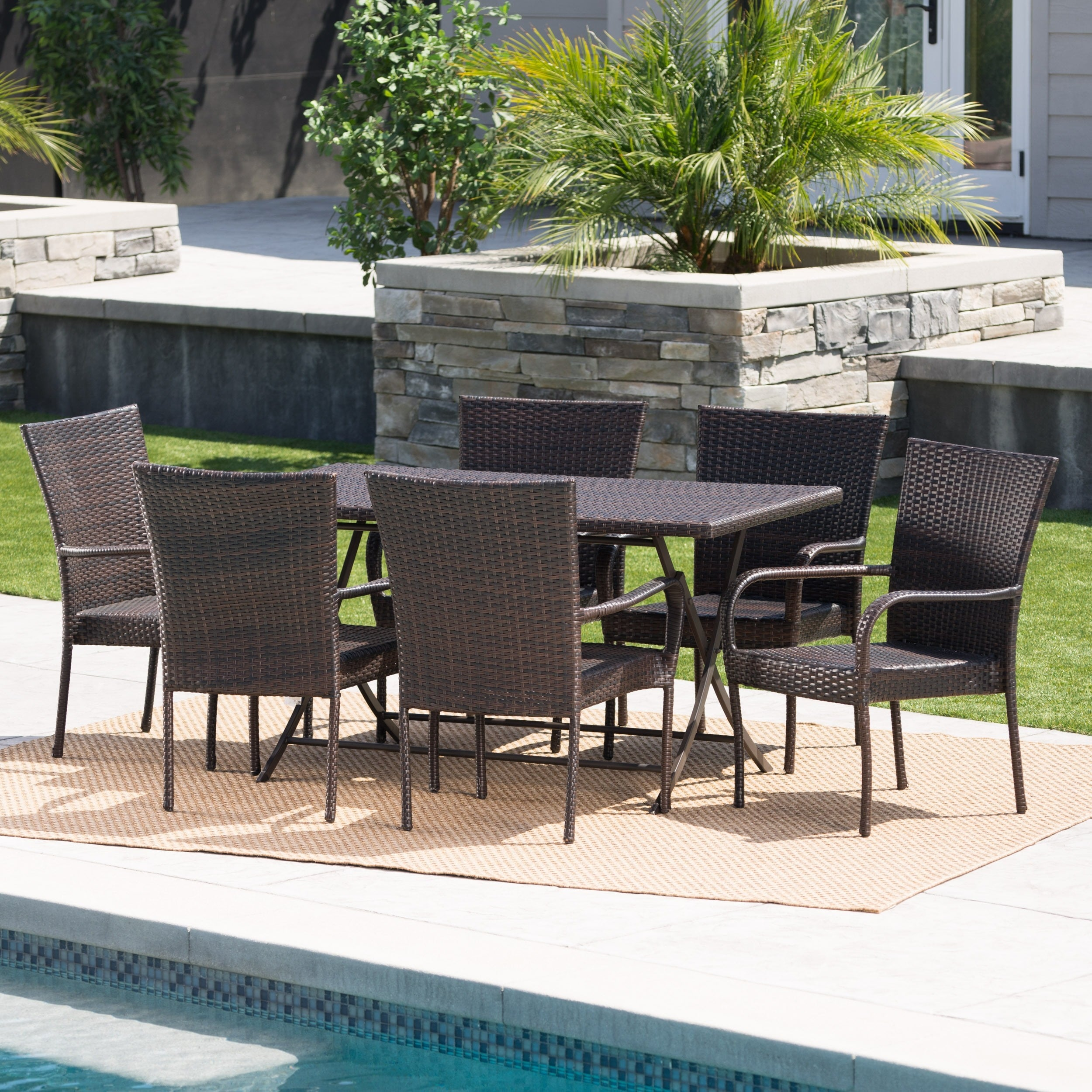 Neva Outdoor 7 Piece Wicker Dining Set By Christopher Knight Home Overstock 17657851