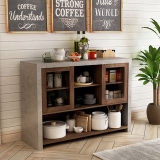 Link to Furniture of America Kwen Industrial Black Storage Buffet Similar Items in Dining Room & Bar Furniture