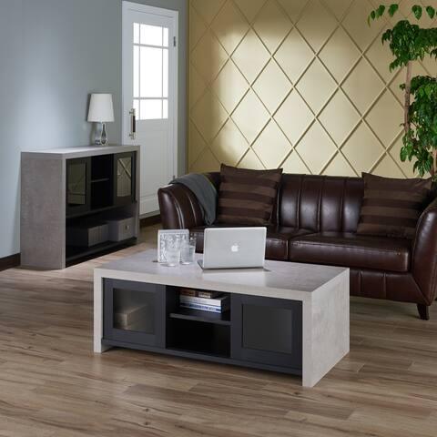 Furniture of America Kwen Industrial Black Storage Coffee Table