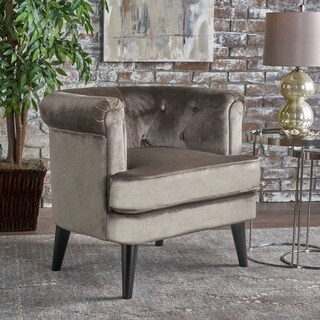 Miguel Mid Century Tufted Studded Velvet Club Chair by Christopher Knight Home
