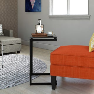 Porch & Den Wicker Park Wolcott Modern Black Glass Top C Table