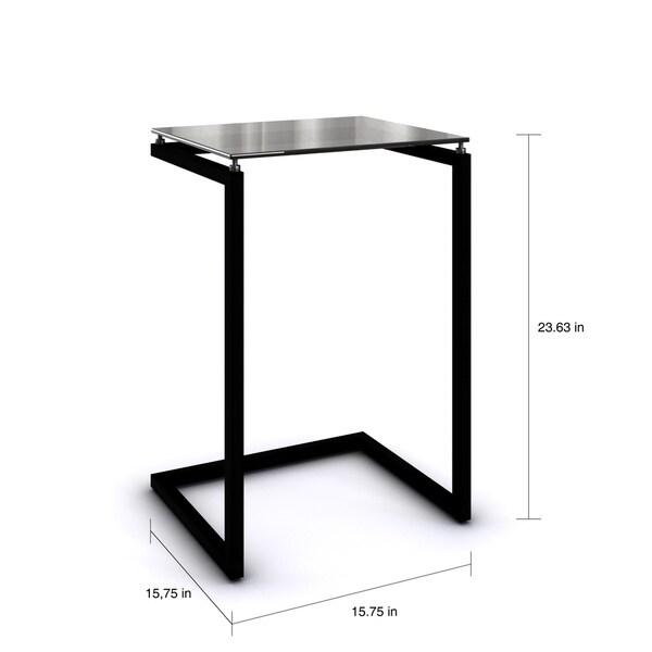 Porch U0026 Den Wicker Park Wolcott Modern Black Glass Top C Table   Free  Shipping Today   Overstock.com   15588633