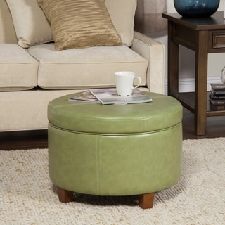 Porch & Den Los Feliz Rowena Large Moss Green Faux Leather Round Storage Ottoman