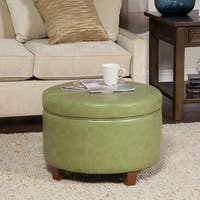 Porch & Den Rockwell Large Moss Green Faux Leather Round Storage Ottoman