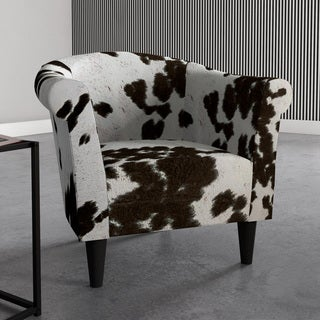 Porch & Den Fountain Square Woodlawn Cowhide Print Accent Chair (Option: Silver)