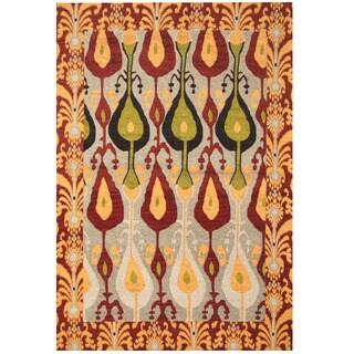 Handmade Herat Oriental Indo Chenille Flatweave Ikat Rug (India) - 5' x 8'