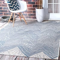 The Curated Nomad Ostermalm Indoor/Outdoor Geometric Wavy Chevron Blue Rug - 6'3 x 9'2