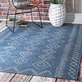 The Curated Nomad Delmar Moroccan Diamonds Blue Indoor/Outdoor Area Rug - 6'3 x 9'2