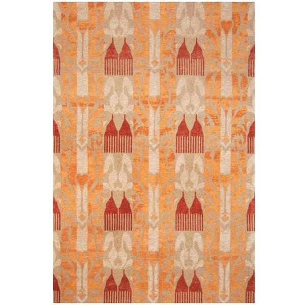 "Handmade Chenille Flatweave Ikat Rug (India) - 6'6"" x 9'6"""
