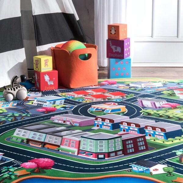 nuLOOM Mutli Contemporary Kids Playtime Metropolitan City Area Rug