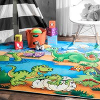 nuLOOM Contemporary Kids Playtime Dino Friends Mutli Rug (5'3 x 7'3) - 5' x 8'