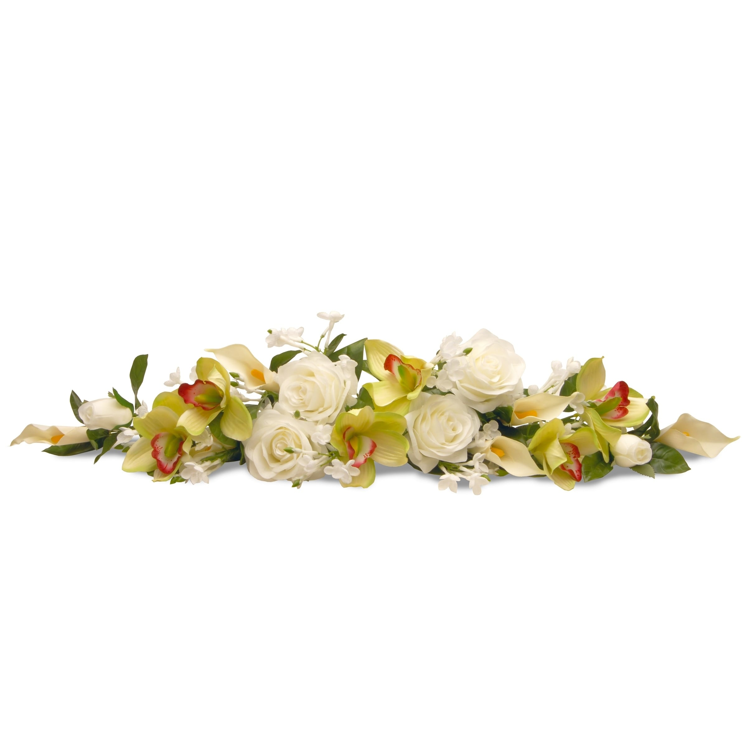 "National Tree 28"" Spring Flowers Swag, White (Plastic)"