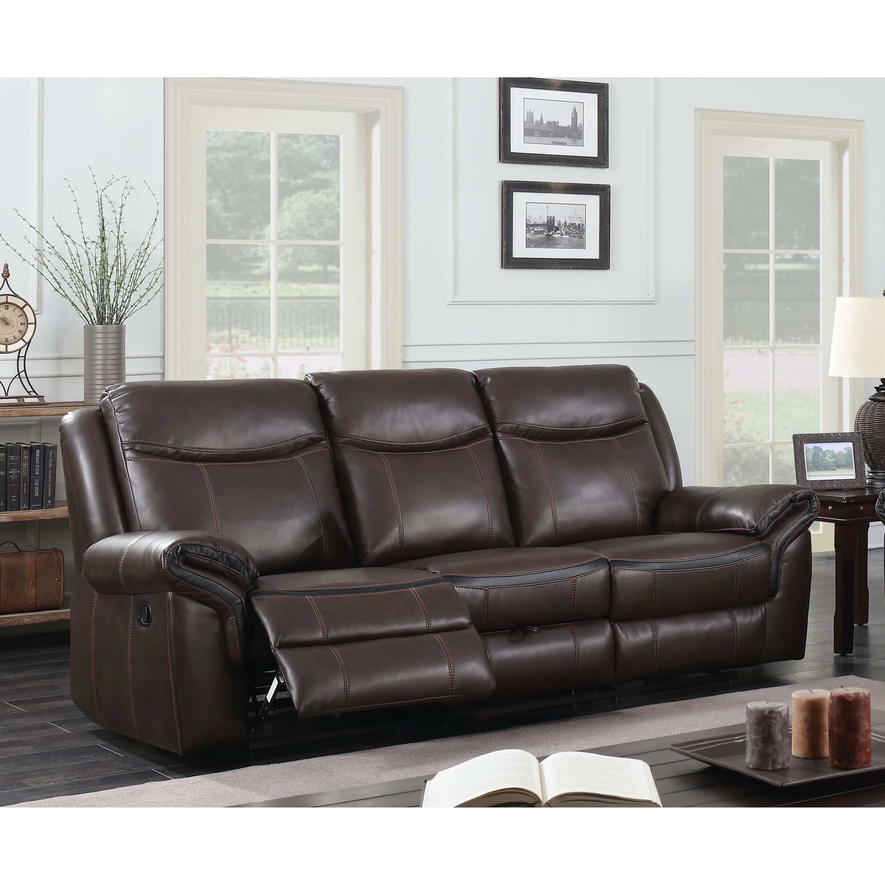 Awe Inspiring Jefferson Transitional Brown Reclining Sofa By Foa Machost Co Dining Chair Design Ideas Machostcouk