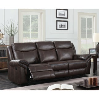 Furniture of America Jefferson Transitional Brown Leather Gel Reclining Sofa