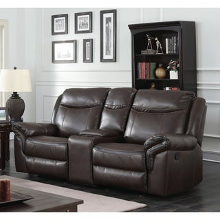 Furniture of America Jefferson Transitional Brown Leather Gel Reclining Loveseat