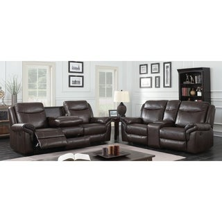 Furniture of America Jefferson Transitional 2-piece Brown Leather Gel Reclining Sofa Set