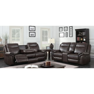 Furniture of America Jefferson Transitional 3-piece Brown Leather Gel Reclining Sofa Set